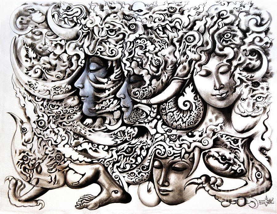 Acrylic Painting Painting - Walk by Kritsana Tasingh