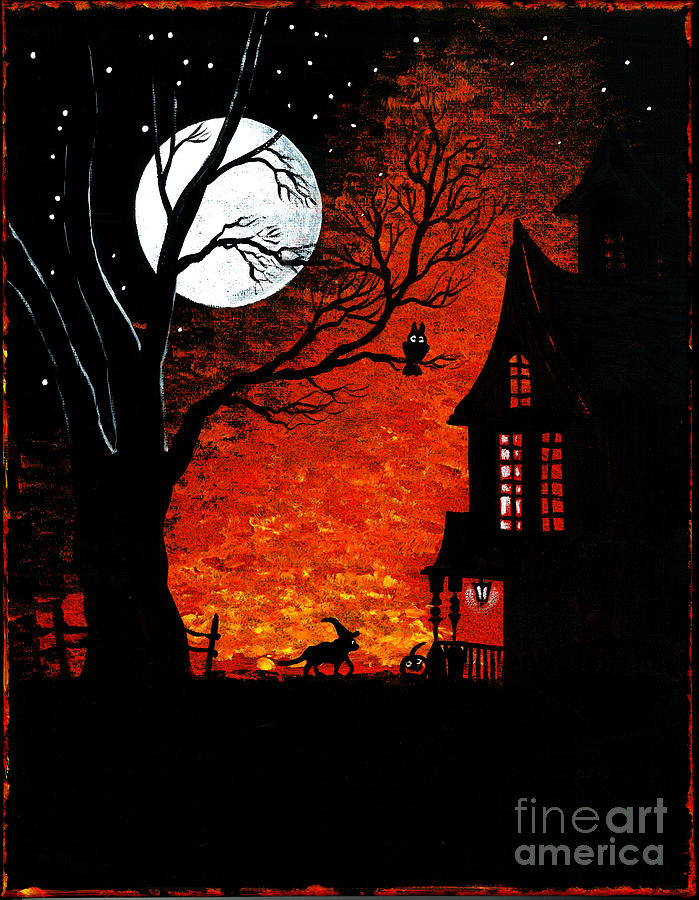 Halloween Painting - Walk Of The Catwitch by Margaryta Yermolayeva