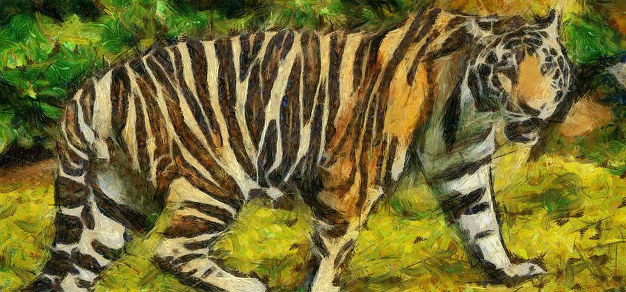 Wild Beast Painting - Walk The Tiger by Georgi Dimitrov