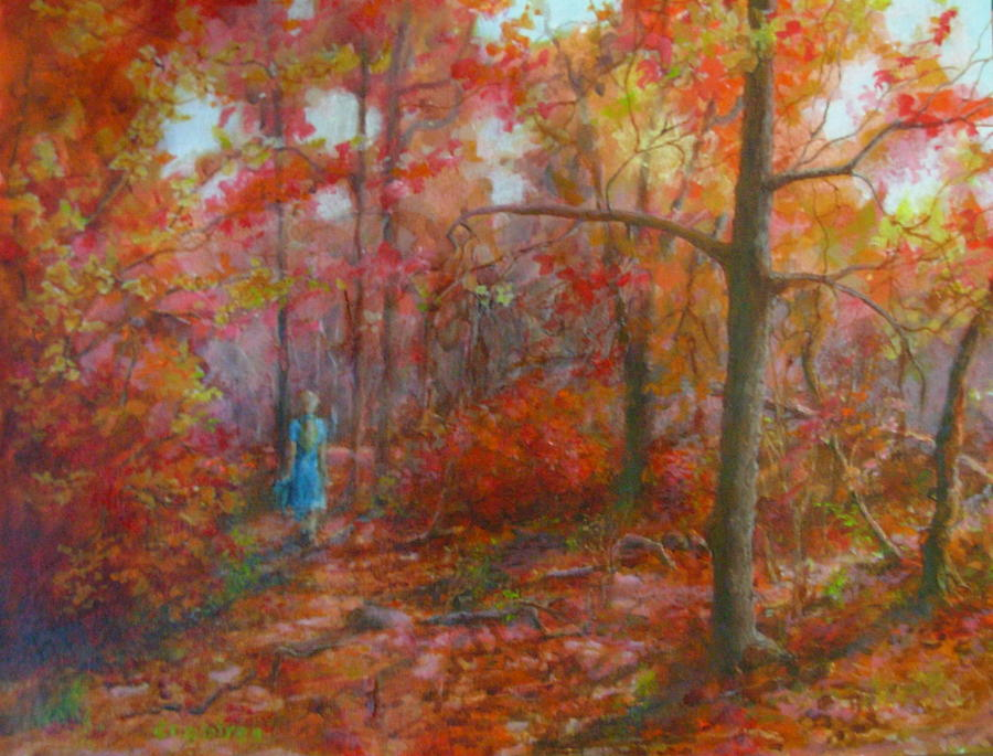 Indian Summer Painting - Walk Through Indian Summer by Elizabeth Crabtree