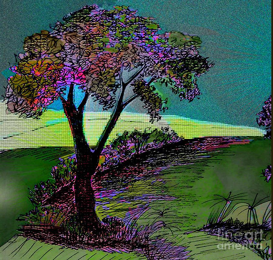 Tree Drawing - Walk With Me by Iris Gelbart