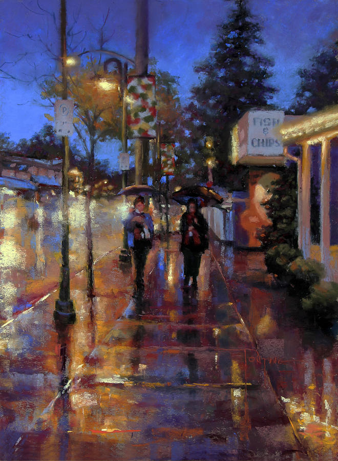 Fort Langley Painting - Walkin in the Rain by Dianna Ponting