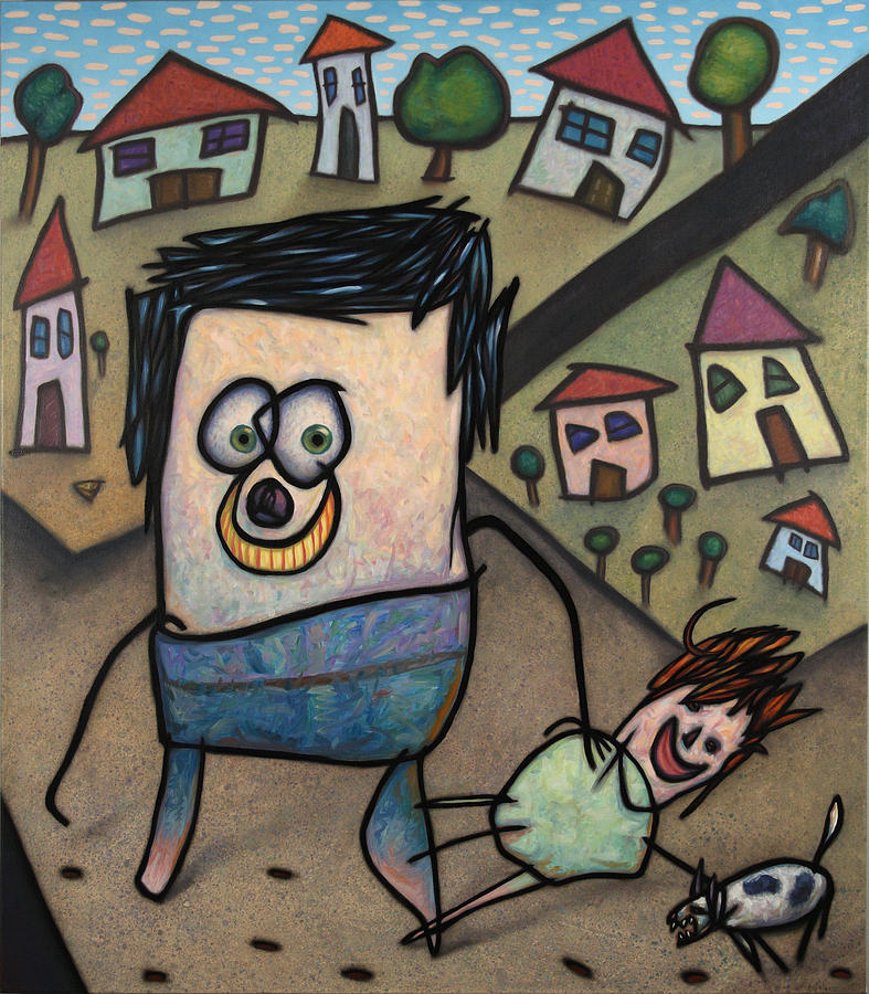 Funny Painting - Walkin The Dog by James W Johnson