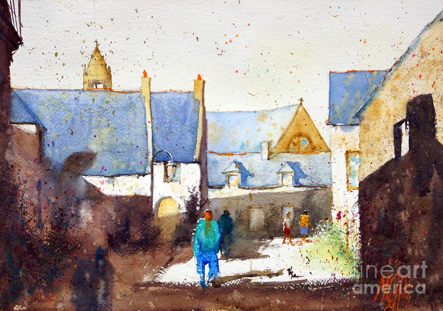 Watercolor Painting - Walking At Saint Colomban by Andre MEHU