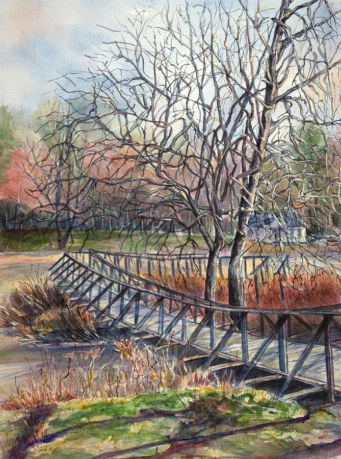 Bridge Painting - Walking Bridge by Janet Felts