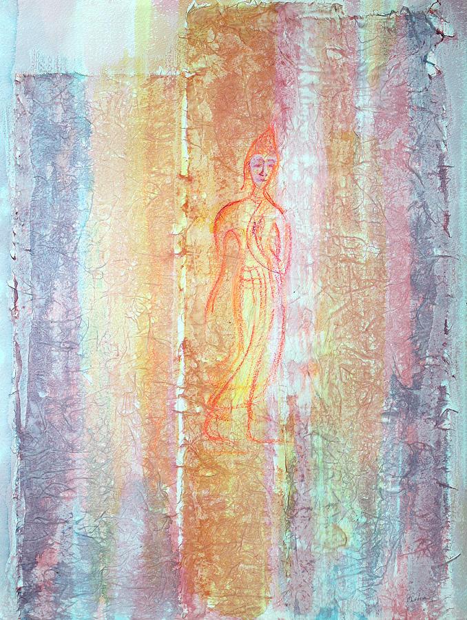 Mixed Media Painting - Walking Buddha by Asha Carolyn Young