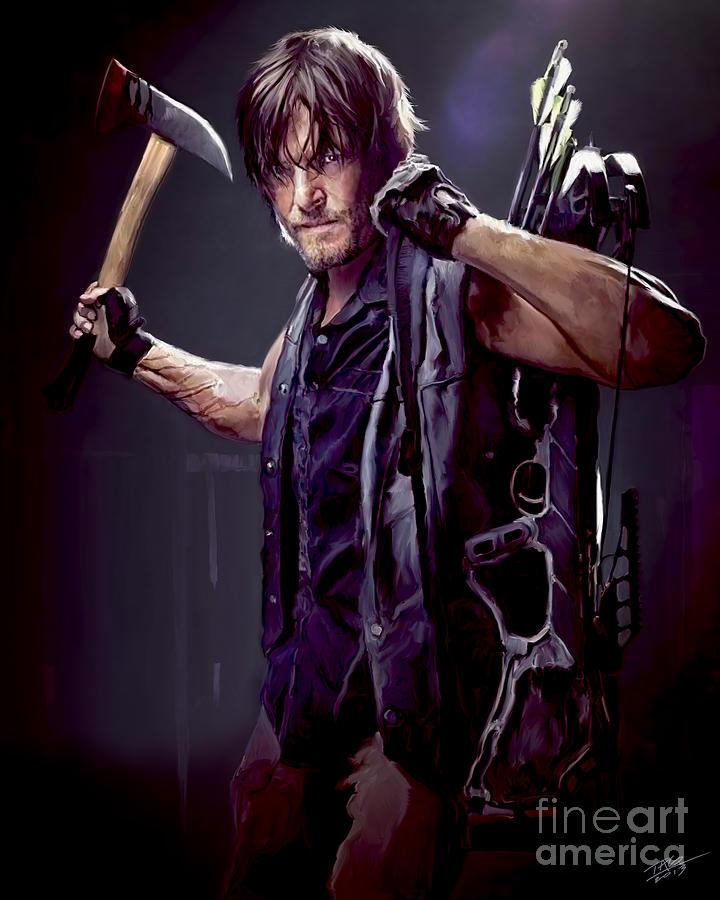 Daryl Painting - Walking Dead - Daryl Dixon by Paul Tagliamonte