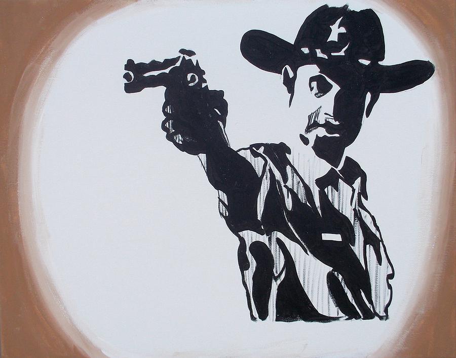 Walking Dead Painting - Walking Dead Rick Shoots by Marisela Mungia