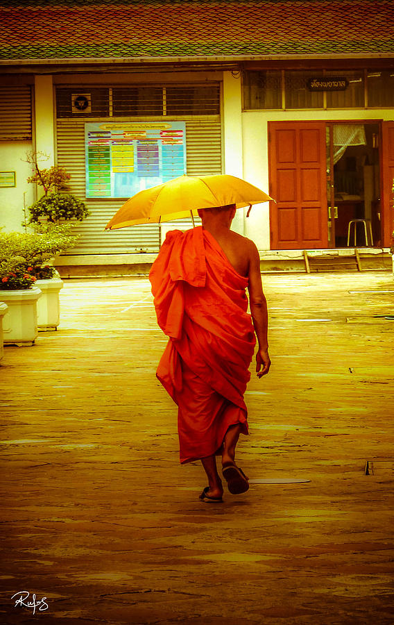 Monk Photograph - Walking in the sun by Allan Rufus