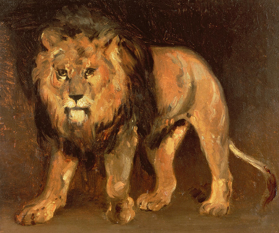 Lion Painting - Walking Lion by Theodore Gericault