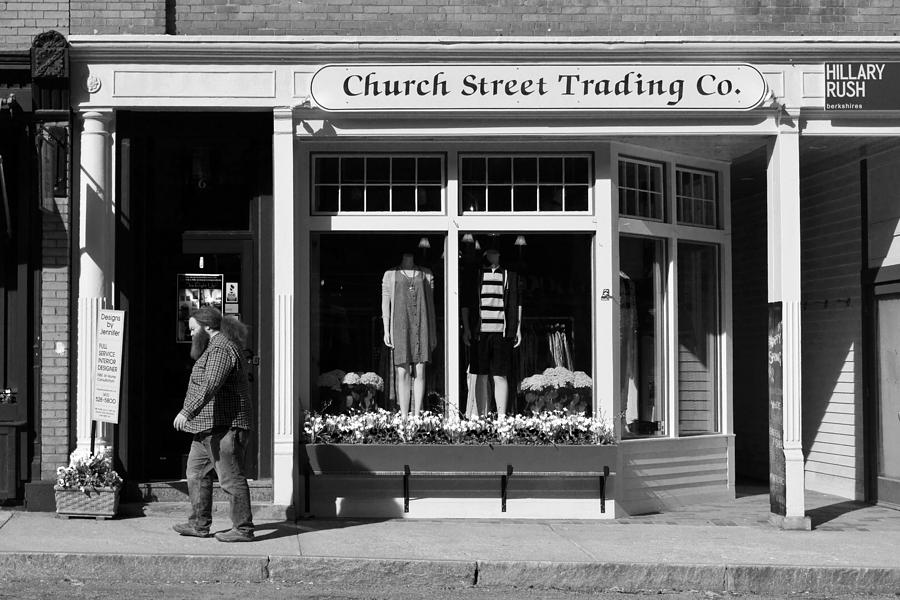 Man Photograph - Walking Man - Great Barrington - Black And White by Geoffrey Coelho