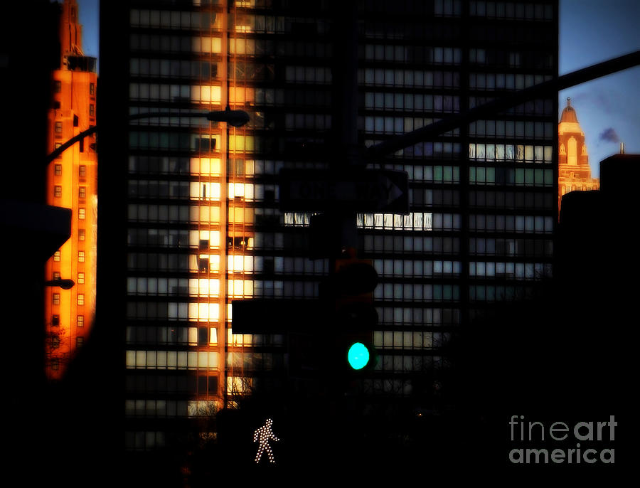Nightscape Photograph - Walking Man - Architecture Of New York City by Miriam Danar