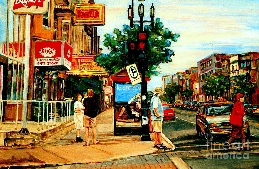 Canada Painting - Walking Past Rialto And The Kit Kat Gift Shop Towards Pascals On Blvd. Park Avenue Montreal Scenes by Carole Spandau