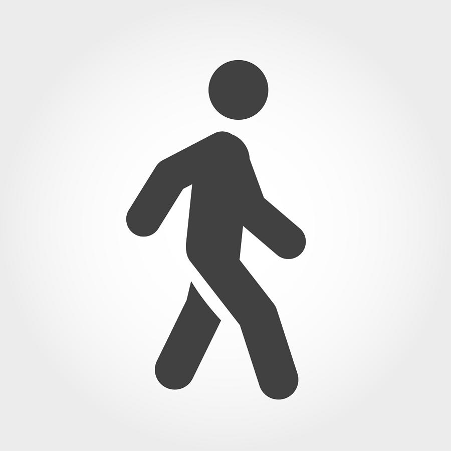 Walking Stick Figure Icon - Iconic Series Drawing by -victor-