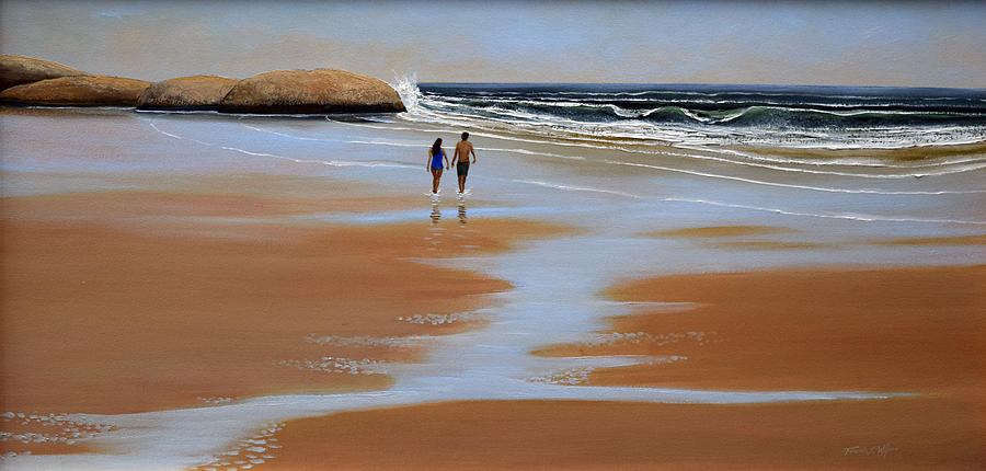 Walking The Beach Painting