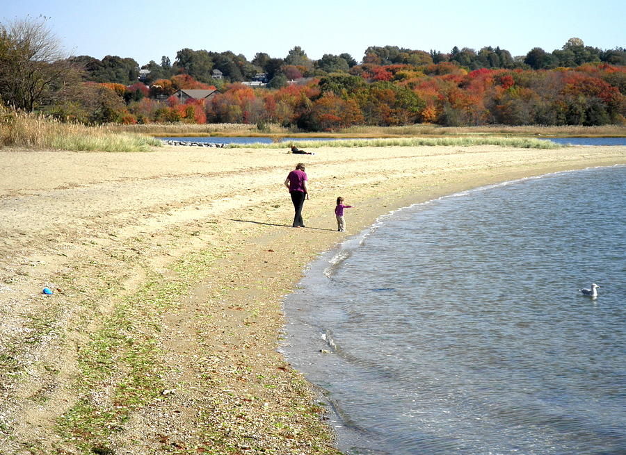 Woman Photograph - Walking The Beach In October by Kate Gallagher