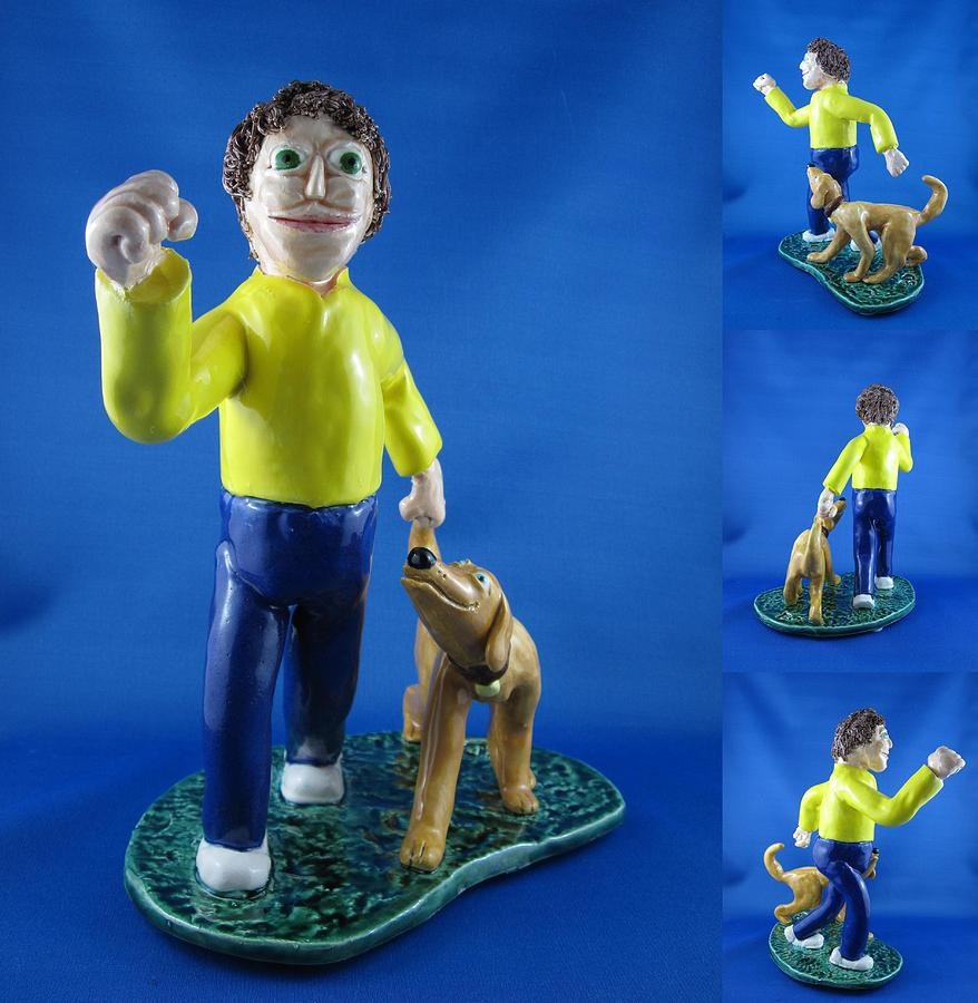 Boy Sculpture - Walking The Dog by Bob Dann