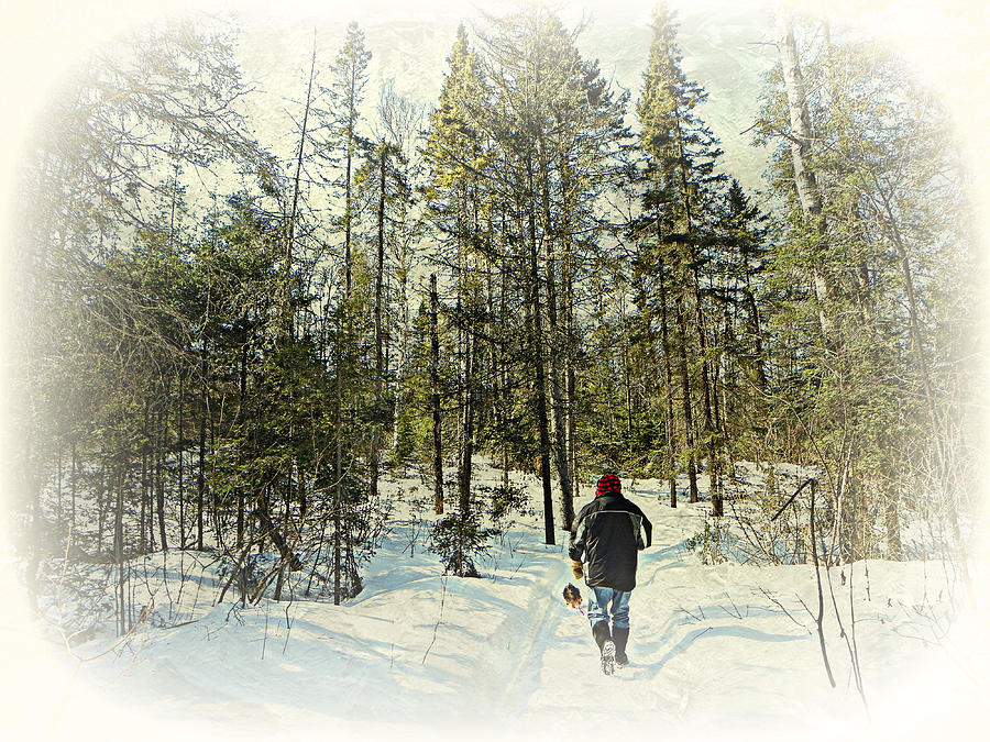 Walking The Dog On A Snowy Trail Photograph by Dianne  Lacourciere