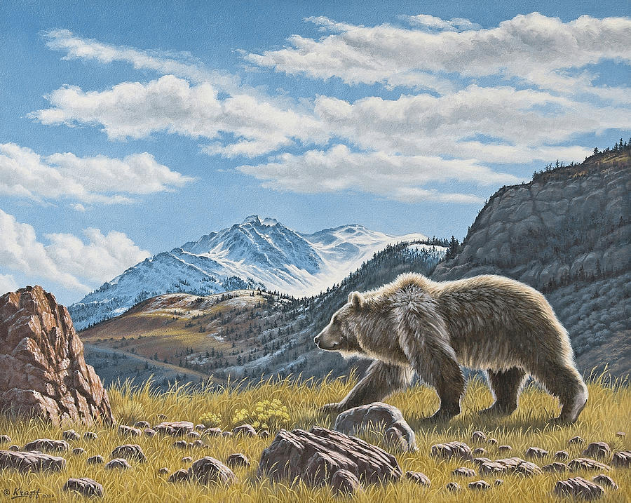 Wildlife Painting - Walking The Ridge - Grizzly by Paul Krapf