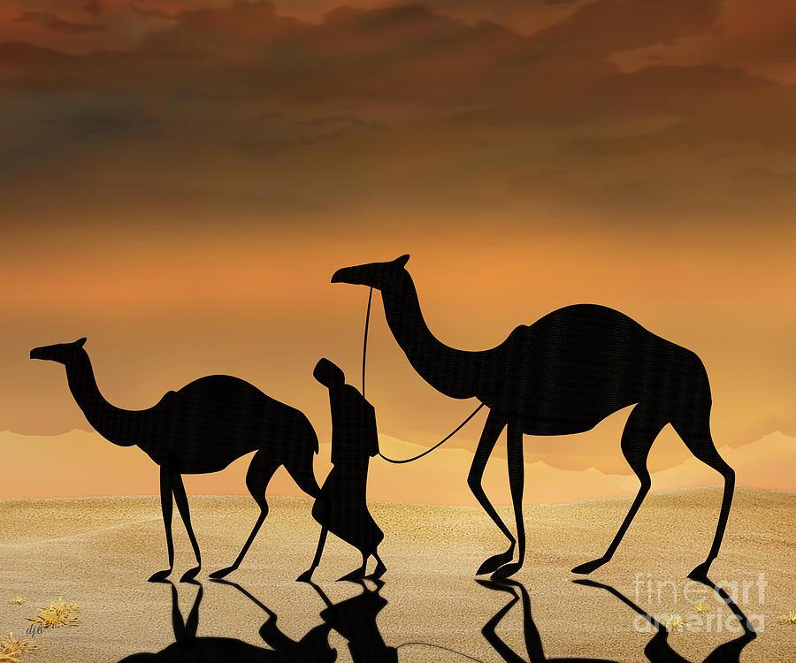 Desert Digital Art - Walking The Sahara by Bedros Awak