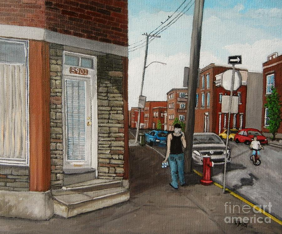 Urban Scenes Painting - Walking Verdun In The Summer by Reb Frost