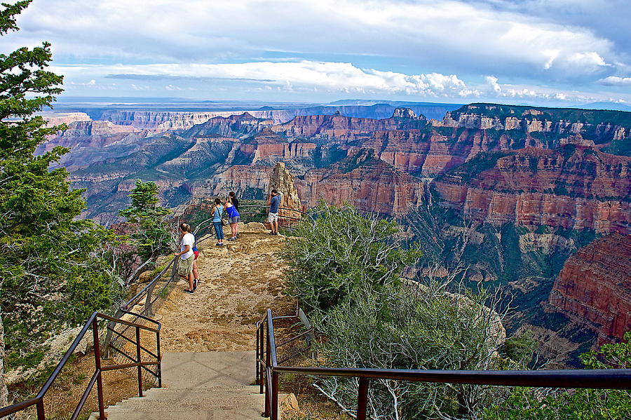 Arizona Photograph - Walkway Out On Point Imperial At 8803 Feet On North Rim Of Grand Canyon National Park-arizona  by Ruth Hager