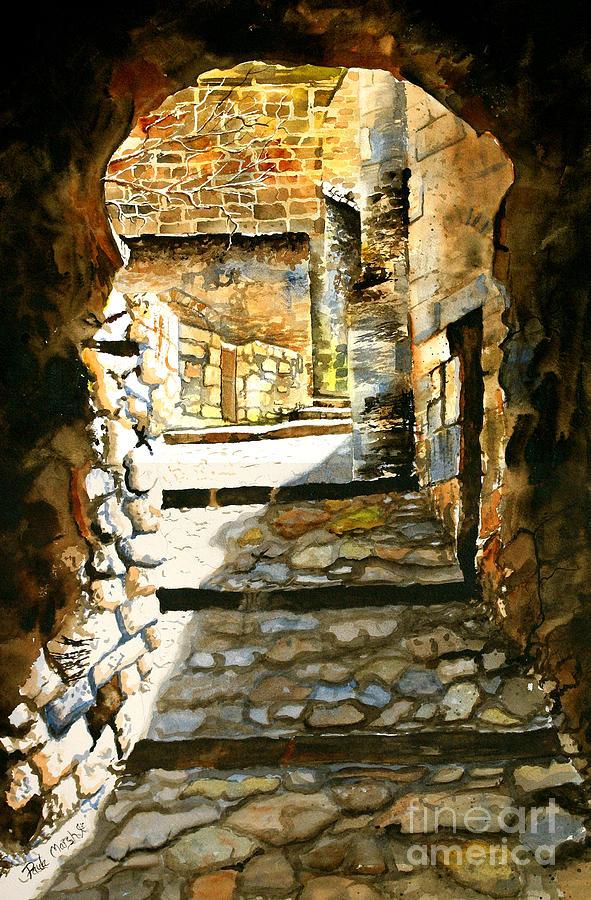 Europe Landscape Painting - Walkway by Paula Marsh