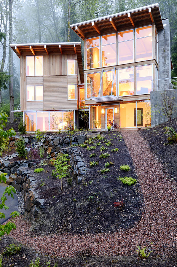 Abode Photograph - Walkway To Modern House by Will Austin