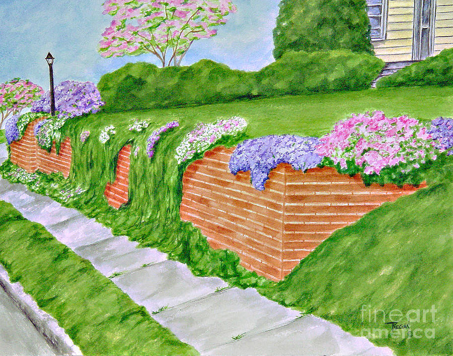 Landscape Painting - Wall Of Flowers by Regan J Smith