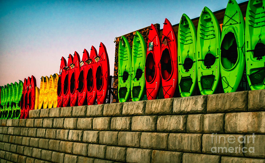 Nautical Photograph - Wall Of Kayaks by Robert Frederick