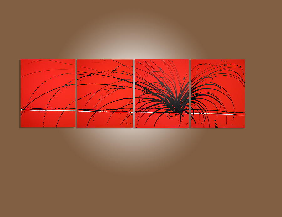 Triptych Painting   Wall Office Decor Triptych Art Red Noise Modern Artwork Painting  Abstract Painting Large