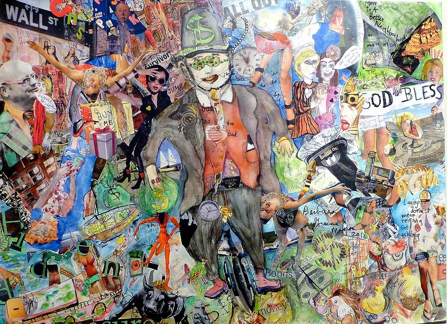 Tent City Mixed Media - Wall St./main St. by Barb Greene mann