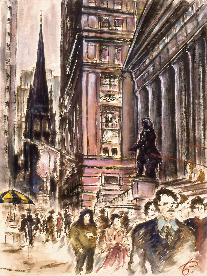 New York Wall Street - Fine Art Painting by Peter Potter