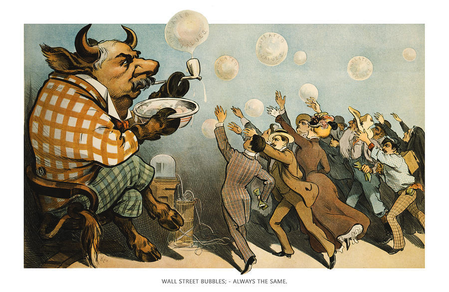 Entertainment Drawing - Wall Street Bubbles Always The Same by Aged Pixel