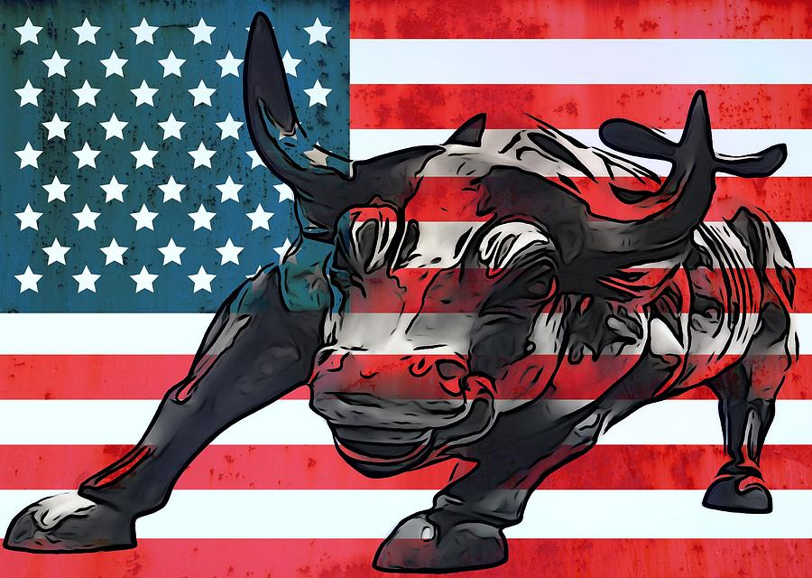 Wall Street Bull Art wall street bull american flag mixed mediadan sproul