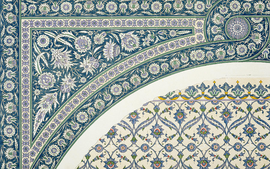Century Drawing - Wall Tiles Of Sibyl D Abd-el Rahman Kyahya From Arab Art As Seen Through The Monuments Of Cairo  by Emile Prisse d Avennes
