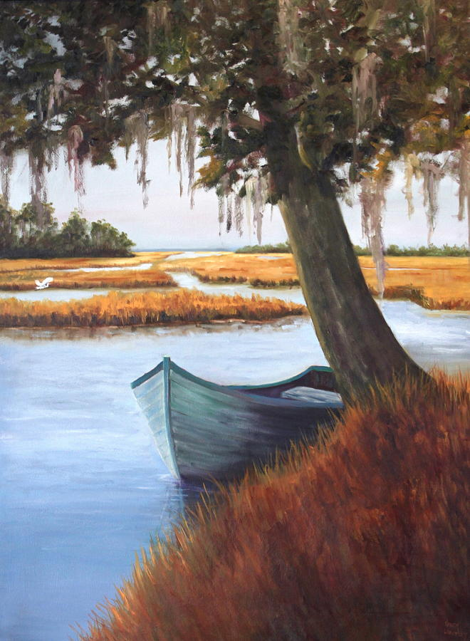 Marsh Painting - Wallowing In The Marsh by Karen Langley