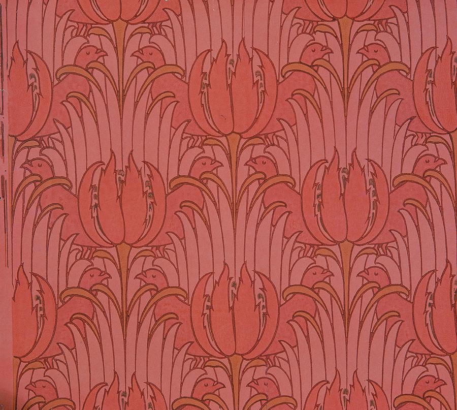 Pattern tapestry textile wallpaper design by victorian voysey
