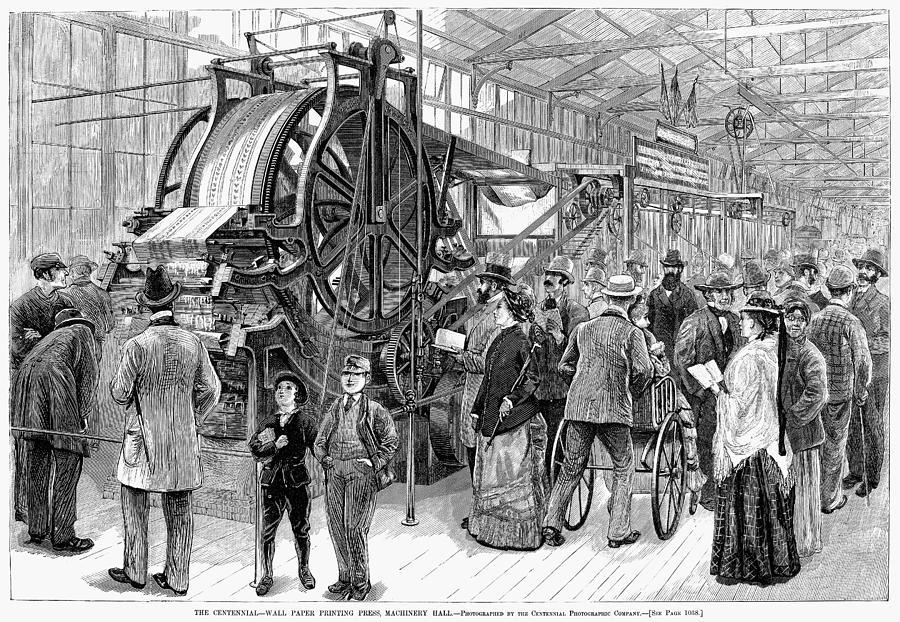 1876 Painting - Wallpaper Printing, 1876 by Granger