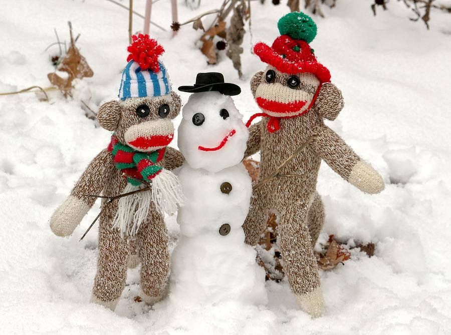 Wally And Petey Snowman Photograph