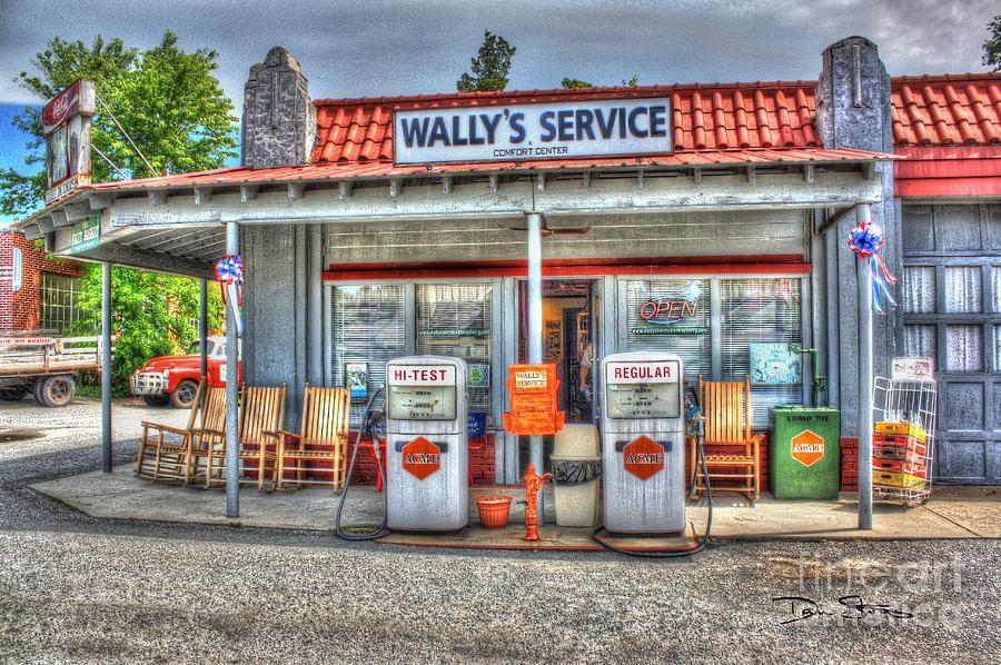 Vintage Photograph - Wallys Service Station by Dan Stone