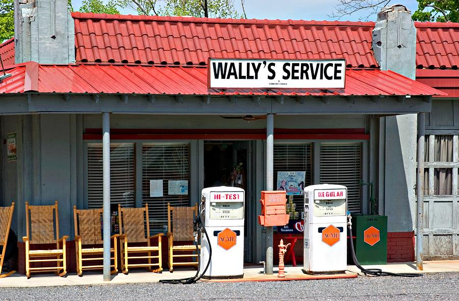 Mt. Airy Photograph - Wallys Service Station Mayberry Nc by Bob Pardue