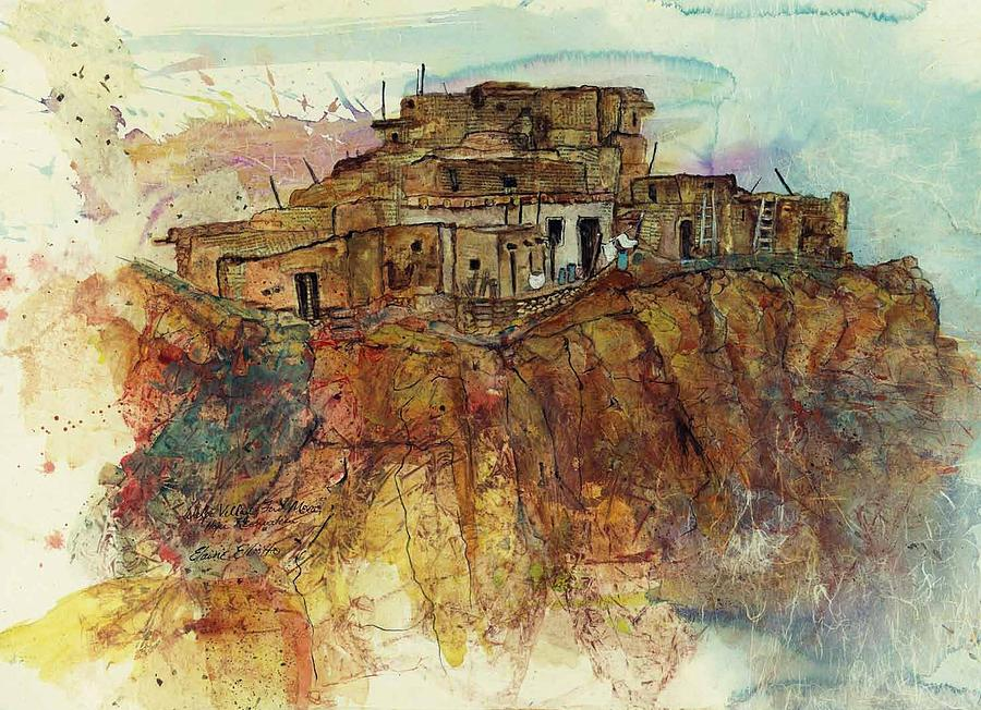 Indian Pueblo Painting - Walpi Village Hopi Reservation by Elaine Elliott