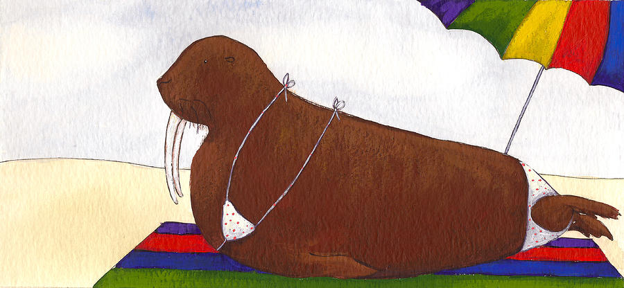 Walrus Painting - Walrus At The Beach by Christy Beckwith