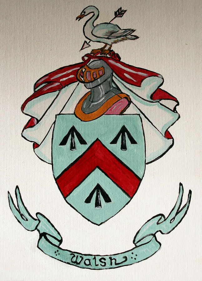 Heraldic Painting - Walsh Family Crest by Maura Satchell
