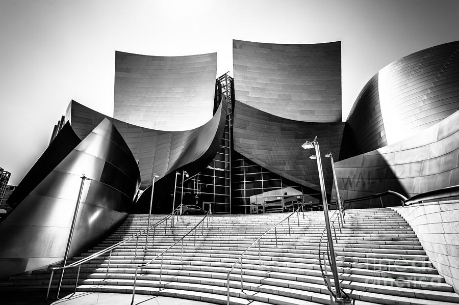 America Photograph - Walt Disney Concert Hall In Black And White by Paul Velgos
