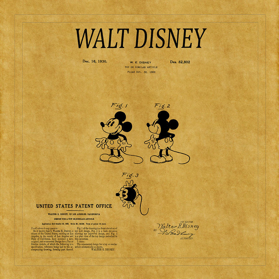 Walt Disney Patent A Photograph by Andrew Fare