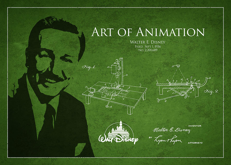 Walt Disney Drawing - Walt Disney Patent From 1936 by Aged Pixel