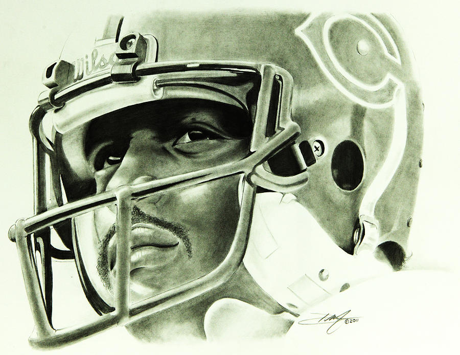 Walter Payton Drawing - Walter Payton by Don Medina