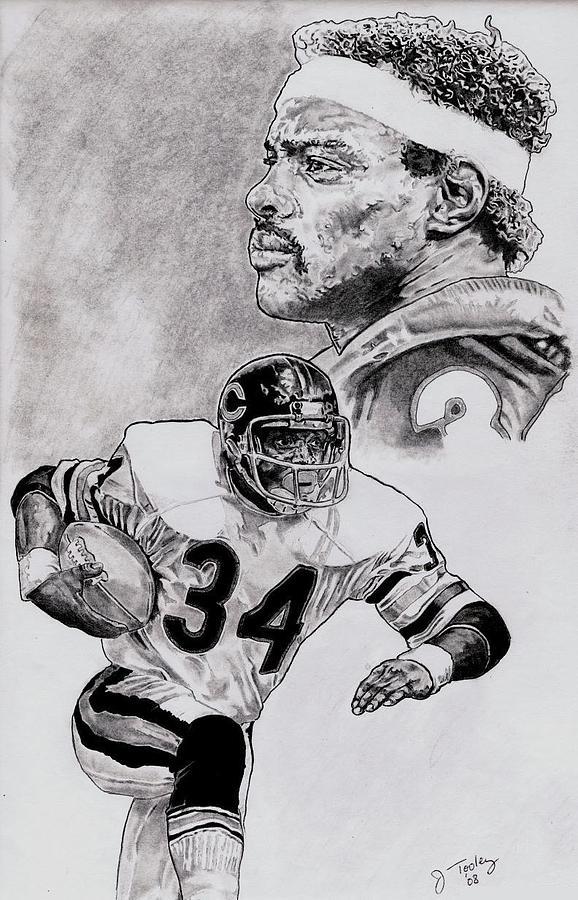 Walter Payton Drawing - Walter Payton by Jonathan Tooley